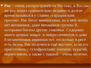 Рис – очень распространён на Востоке, в Россию же рис попал сравнительно неда