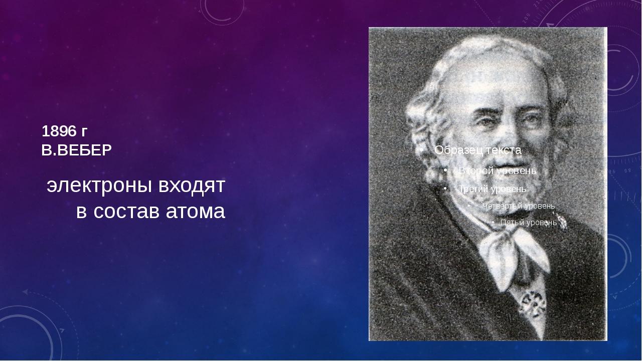1896 г В.ВЕБЕР электроны входят в состав атома