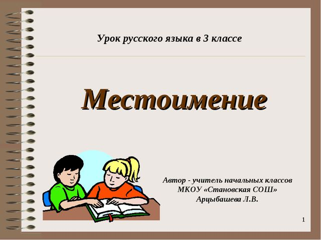 * Местоимение Урок русского языка в 3 классе Автор - учитель начальных классо...