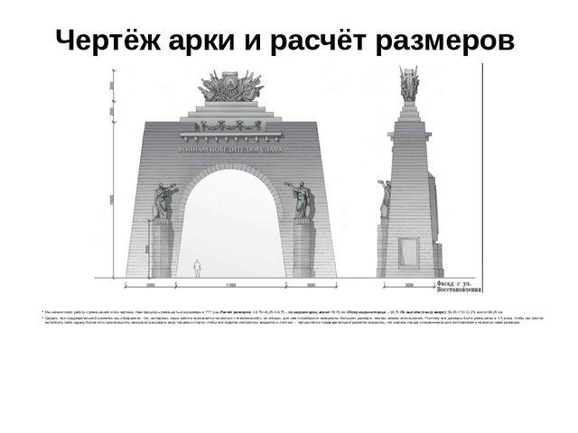 Чертёж арки и расчёт размеров Мы начали свою работу с уменьшения этого чертеж...