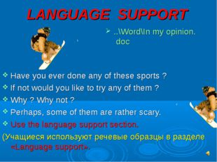 LANGUAGE SUPPORT ..\Word\In my opinion. doc Have you ever done any of these s