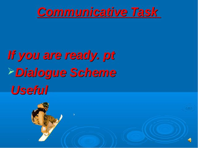 Communicative Task If you are ready. pt Dialogue Scheme Useful