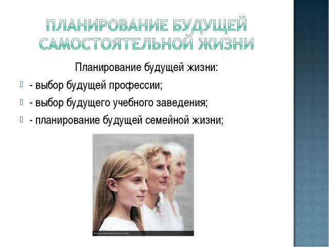 Планирование будущей жизни: - выбор будущей профессии; - выбор будущего учебн...
