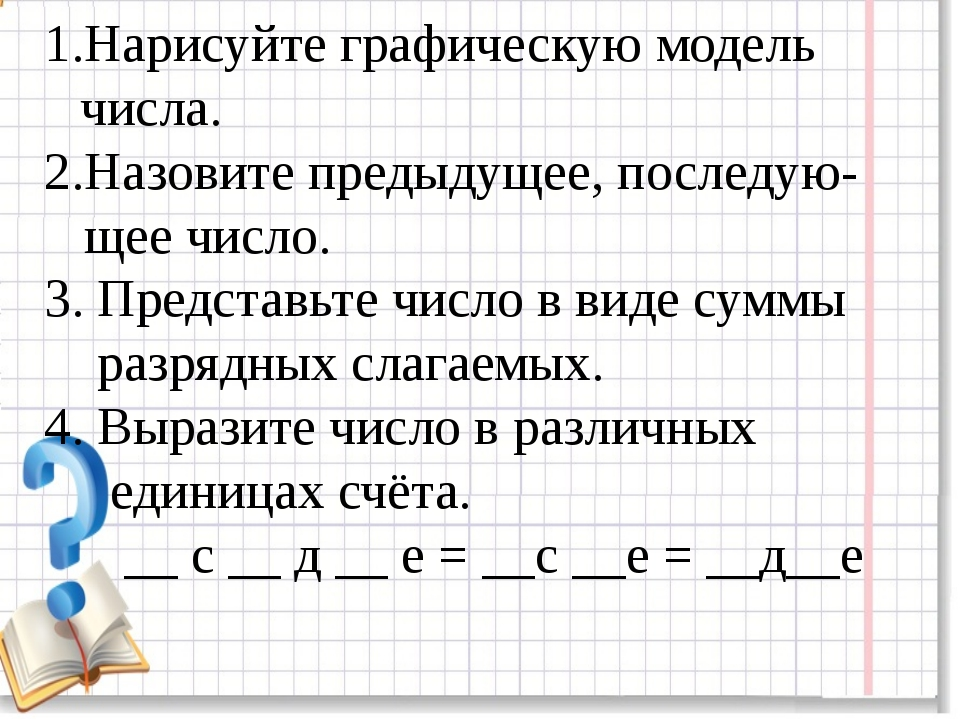 Нарисуйте графическую модель числа. Назовите предыдущее, последую- щее число....