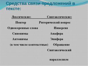 Средства связи предложений в тексте: Лексические: Синтаксические: Повтор  Ри