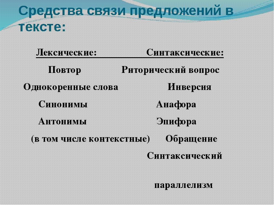 Средства связи предложений в тексте: Лексические: Синтаксические: Повтор  Ри...