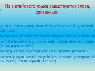 Из английского языка заимствуются слова, связанные : Быт ( mixer, toaster, ju