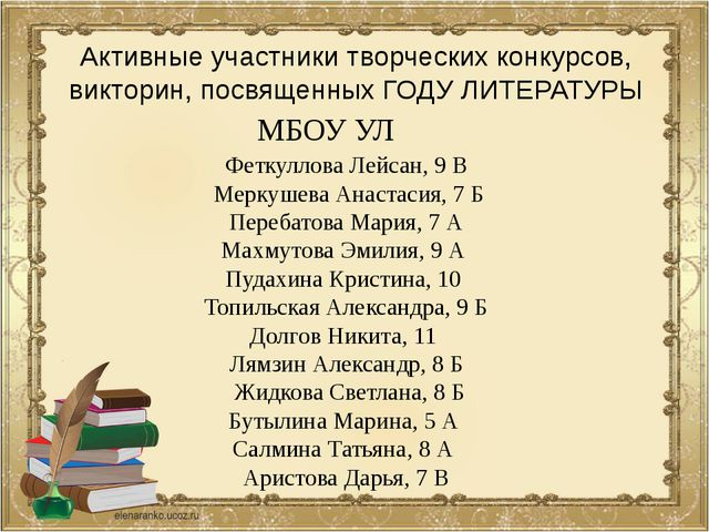 Активные участники творческих конкурсов, викторин, посвященных ГОДУ ЛИТЕРАТУР...