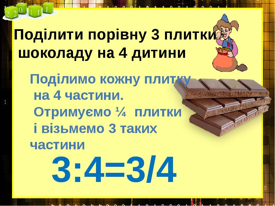 Поділити порівну 3 плитки шоколаду на 4 дитини 3:4=3/4 Поділимо кожну плитку...