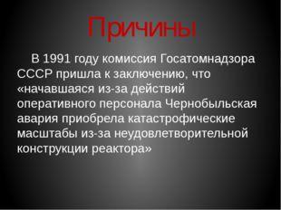 Причины В 1991 году комиссия Госатомнадзора СССР пришла к заключению, что «н