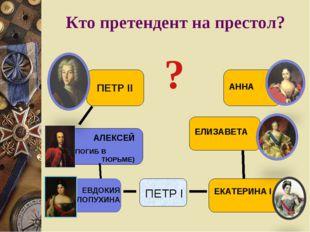 Кто претендент на престол? ПЕТР I ЕКАТЕРИНА I АЛЕКСЕЙ (ПОГИБ В ТЮРЬМЕ) ПЕТР I