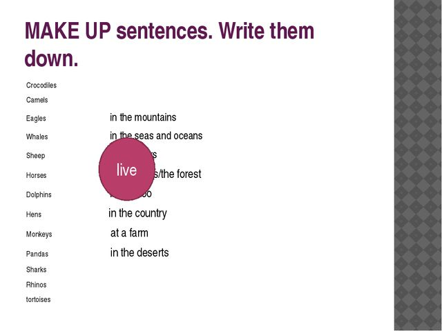 MAKE UP sentences. Write them down. Crocodiles Camels Eagles in the mountains...