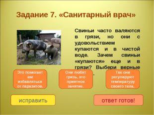 Задание 7. «Санитарный врач» Свиньи часто валяются в грязи, но они с удоволь