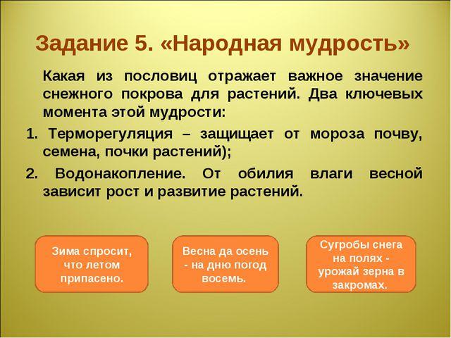 Задание 5. «Народная мудрость» Какая из пословиц отражает важное значение сн...