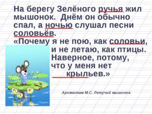 На берегу Зелёного ручья жил мышонок. Днём он обычно спал, а ночью слушал пес