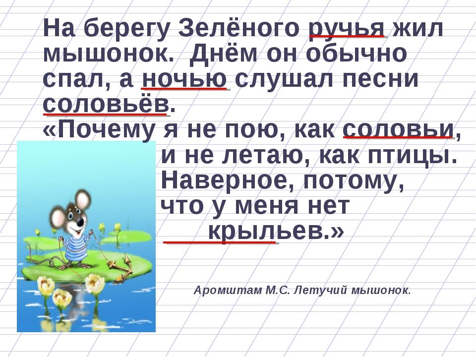На берегу Зелёного ручья жил мышонок. Днём он обычно спал, а ночью слушал пес...