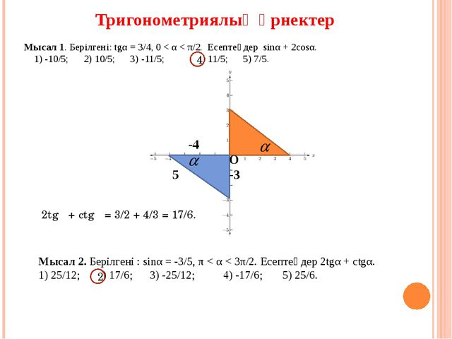 Тригонометриялық өрнектер Мысал 1. Берілгені: tgα = 3/4, 0 < α < π/2. Есептең...