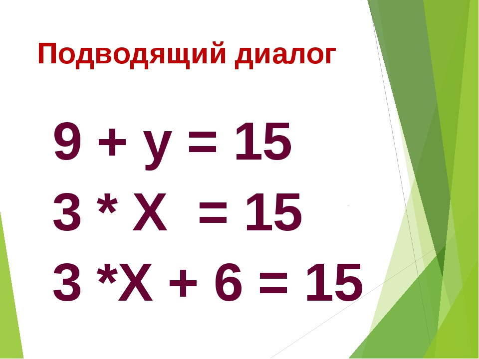 Подводящий диалог 9 + у = 15 3 * Х = 15 3 *Х + 6 = 15