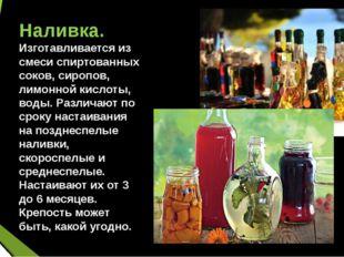 Наливка. Изготавливается из смеси спиртованных соков, сиропов, лимонной кисл