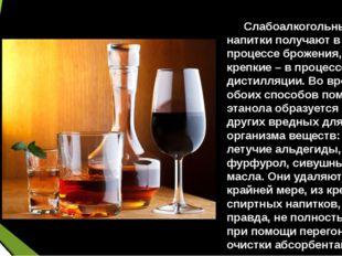 Слабоалкогольные напитки получают в процессе брожения, крепкие – в процессе