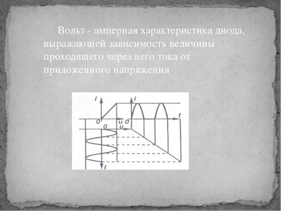 Вольт - амперная характеристика диода, выражающей зависимость величины прохо...