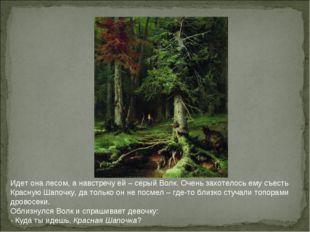 Идет она лесом, а навстречу ей – серый Волк. Очень захотелось ему съесть Крас