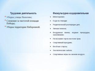 Трудовая деятельность Уборка улицы Яковлева; Слежение за чистотой площади Поб