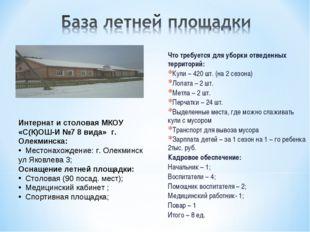 Что требуется для уборки отведенных территорий: Кули – 420 шт. (на 2 сезона)