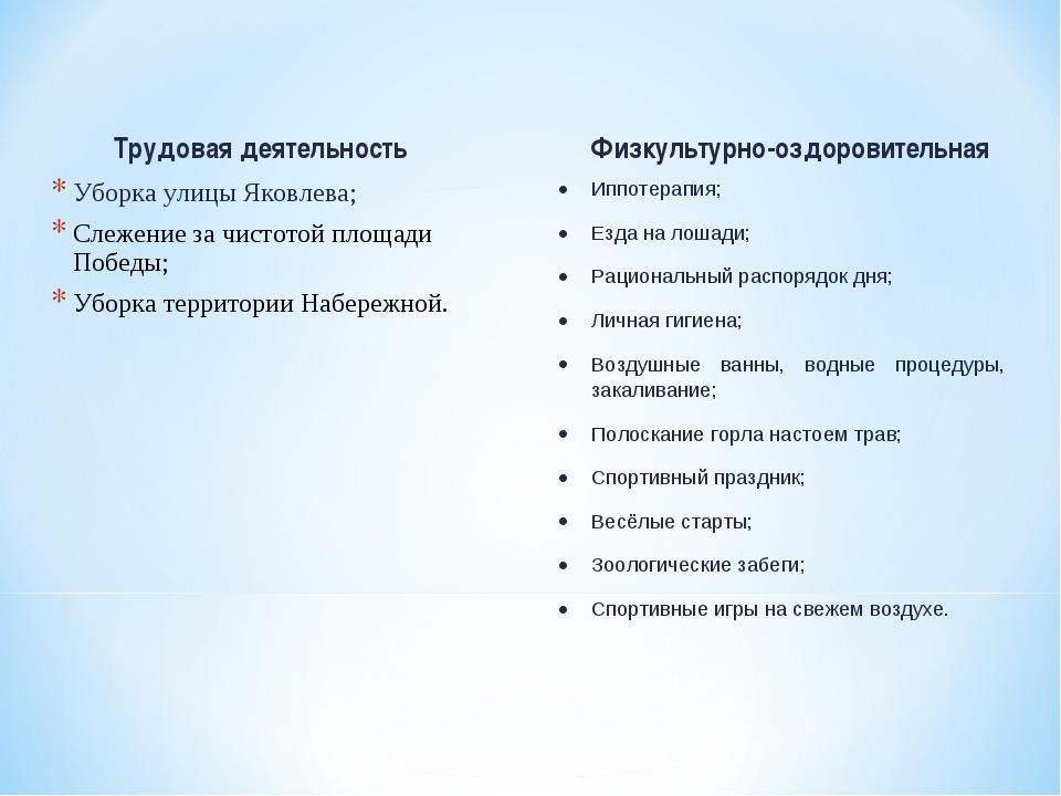 Трудовая деятельность Уборка улицы Яковлева; Слежение за чистотой площади Поб...