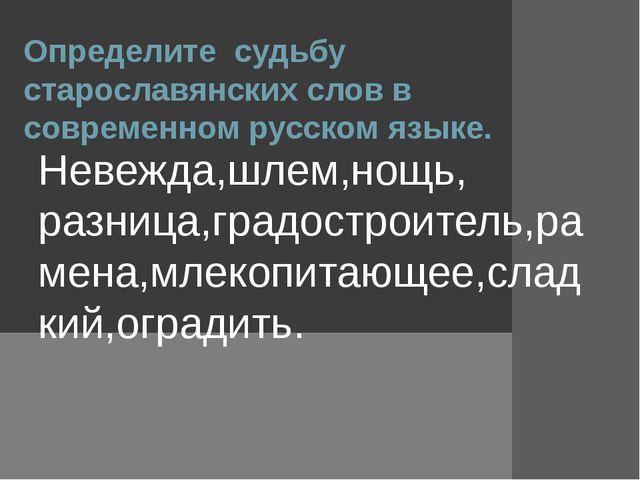 Определите судьбу старославянских слов в современном русском языке. Невежда,ш...