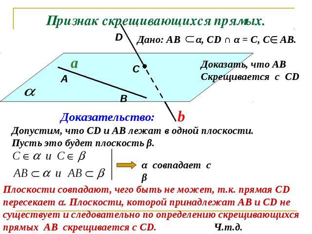 Признак скрещивающихся прямых. Дано: АВ α, СD ∩ α = С, С АВ. a b Доказательст...