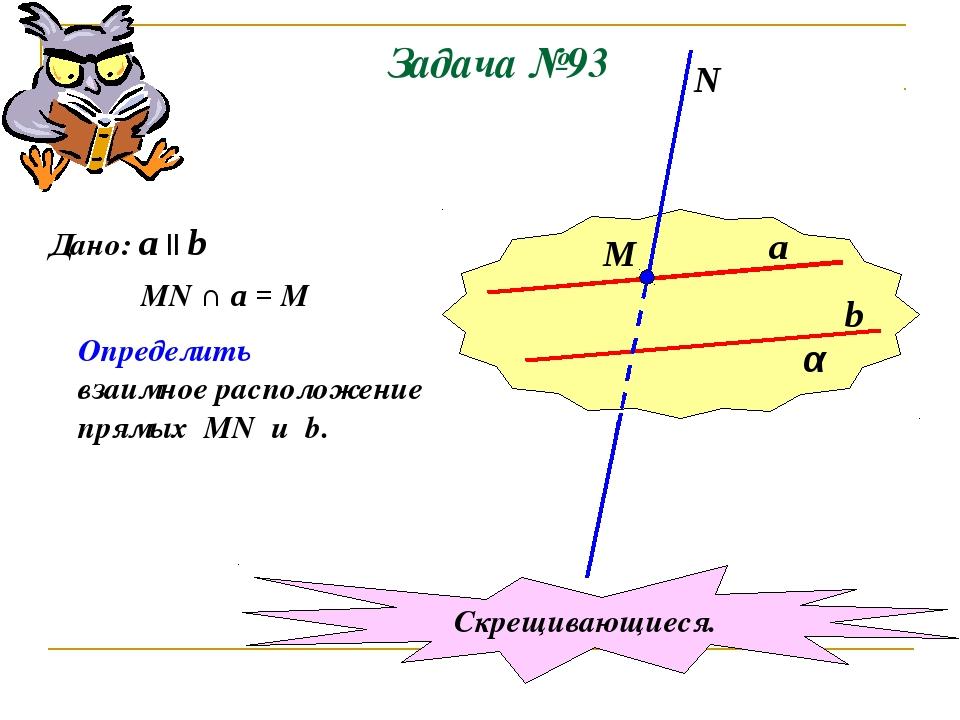 Задача №93 α a b М N Дано: a || b MN ∩ a = M Определить взаимное расположение...