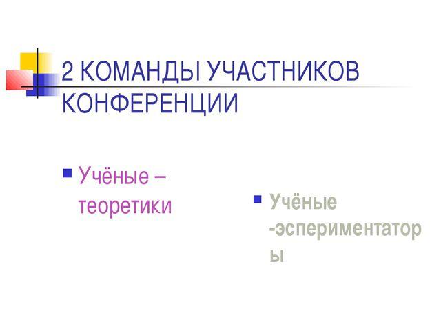 2 КОМАНДЫ УЧАСТНИКОВ КОНФЕРЕНЦИИ Учёные – теоретики Учёные -эспериментаторы
