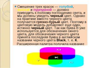 Смешение трех красок — голубой, желтой и пурпурной — должно приводить к полно