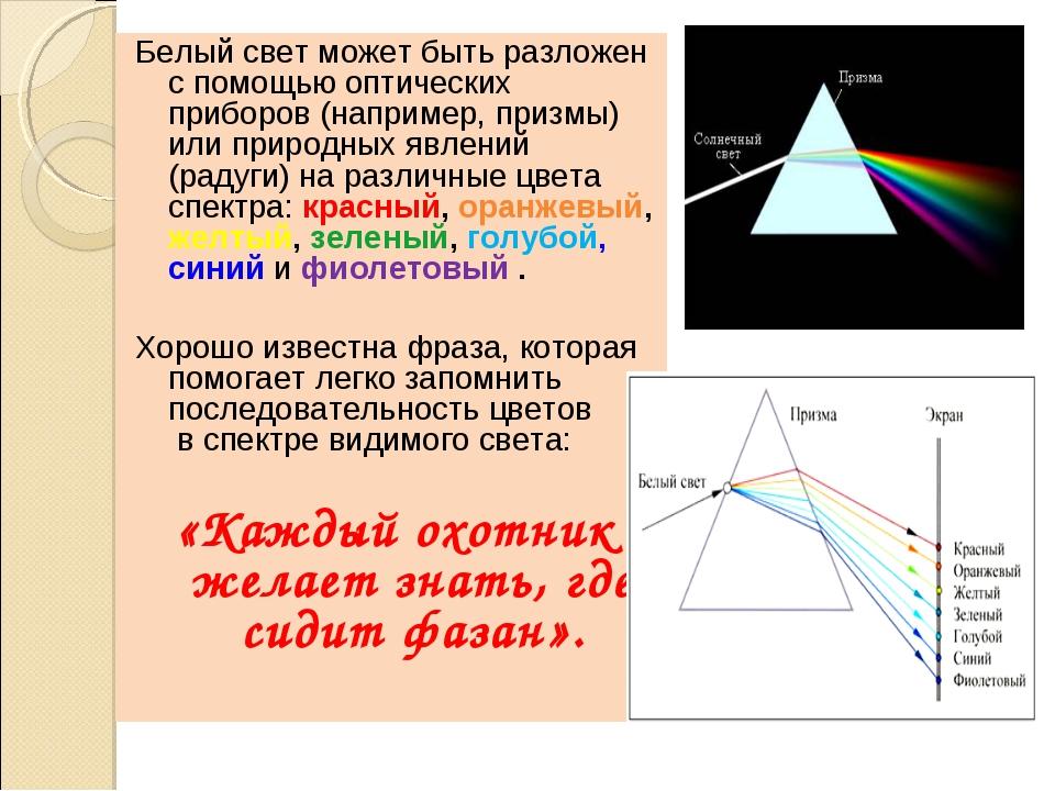 Белый свет может быть разложен с помощью оптических приборов (например, призм...