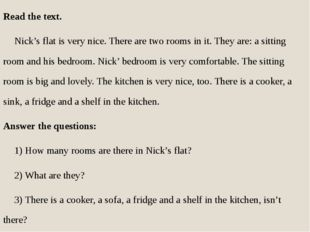Read the text. Nick's flat is very nice. There are two rooms in it. They ar
