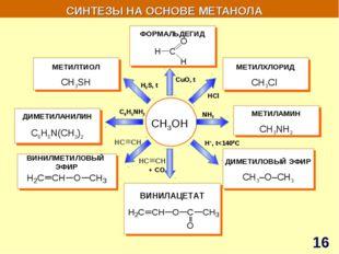 СИНТЕЗЫ НА ОСНОВЕ МЕТАНОЛА СH3OH ВИНИЛМЕТИЛОВЫЙ ЭФИР ДИМЕТИЛАНИЛИН C6H5N(CH3)