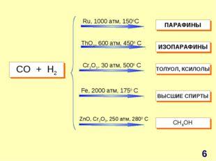 СO + H2 Ru, 1000 атм, 1500C ThO2, 600 атм, 4500 C Cr2O3, 30 атм, 5000 C Fe, 2