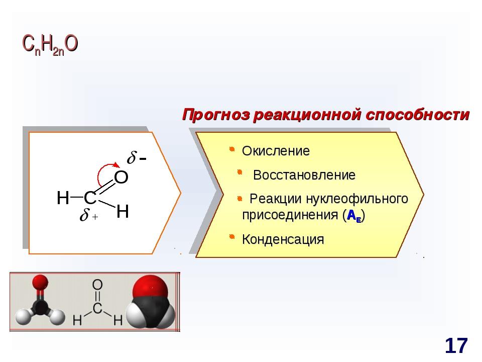 СnH2nO Прогноз реакционной способности Окисление Восстановление Реакции нукле...