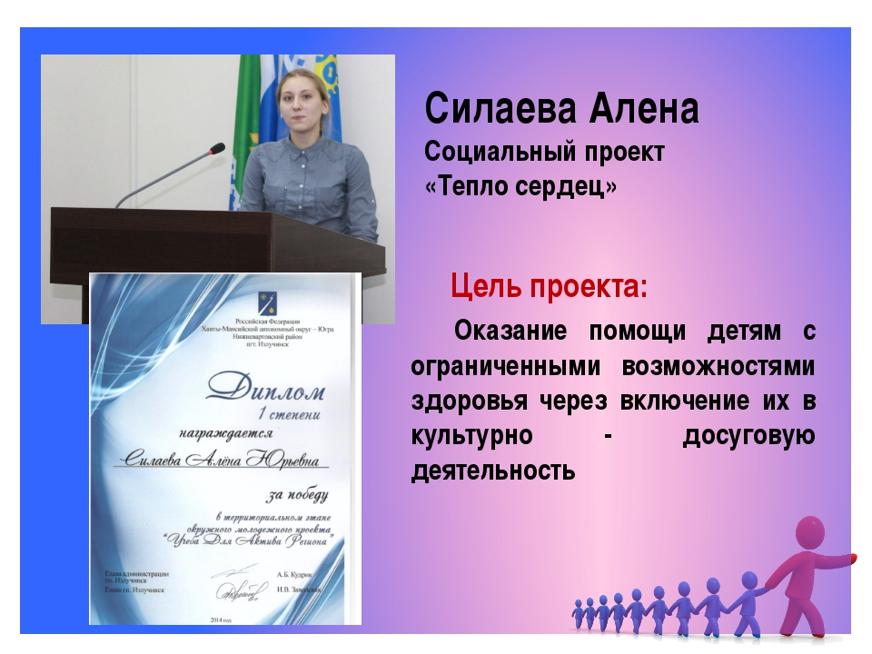 Силаева Алена Социальный проект «Тепло сердец» Оказание помощи детям с огра...