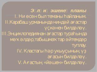 Эҙләнү эшенең планы I. Ни өсөн был теманы һайланым. II.Карабаш урманында нинд