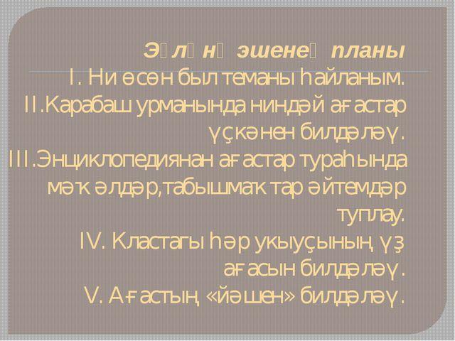 Эҙләнү эшенең планы I. Ни өсөн был теманы һайланым. II.Карабаш урманында нинд...