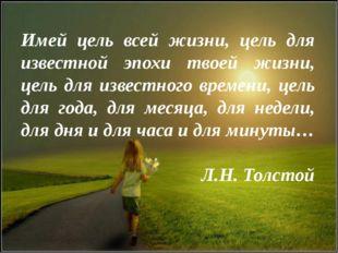 Имей цель всей жизни, цель для известной эпохи твоей жизни, цель для известно
