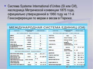 Система Systeme International d'Unites (SI или СИ), наследница Метрической ко