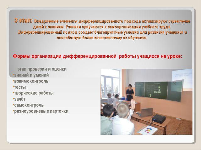 3 этап: Внедряемые элементы дифференцированного подхода активизируют стремлен...