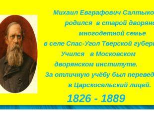 Михаил Евграфович Салтыков родился в старой дворянской многодетной семье в с