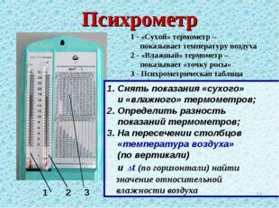 Психрометр * 1 2 3 1 - «Сухой» термометр – показывает температуру воздуха 2 -