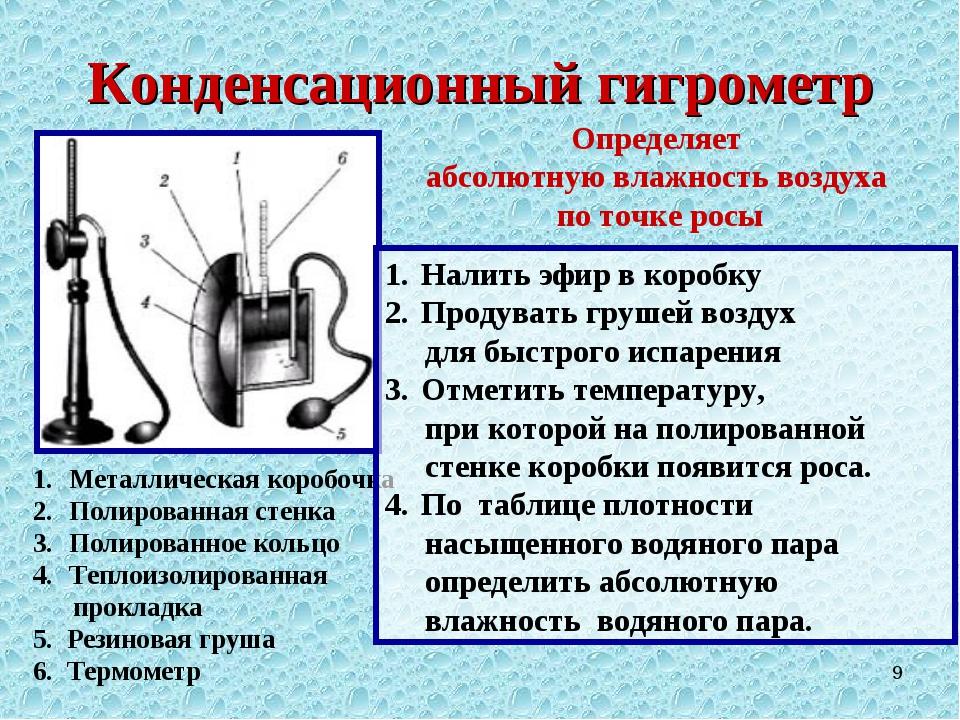 Конденсационный гигрометр * Металлическая коробочка Полированная стенка Полир...