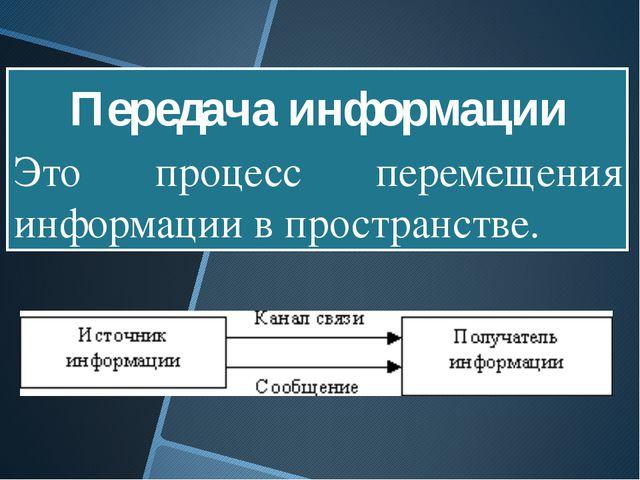 Это процесс перемещения информации в пространстве. Передача информации