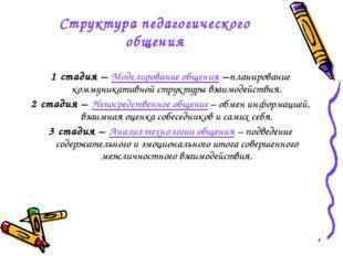 * Структура педагогического общения 1 стадия – Моделирование общения –планиро